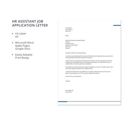Free HR Assistant Job Application Letter