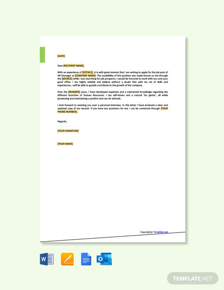 Free HR Manager Job Application Letter