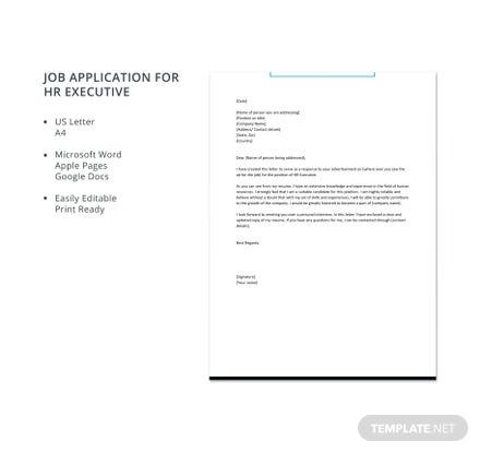 Free Job Application for HR Executive