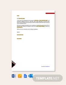Free Job Application Letter for Undergraduate Student