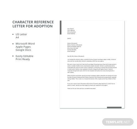 Free Character Reference Letter for Adoption