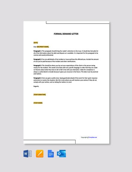 Free Formal Demand Letter