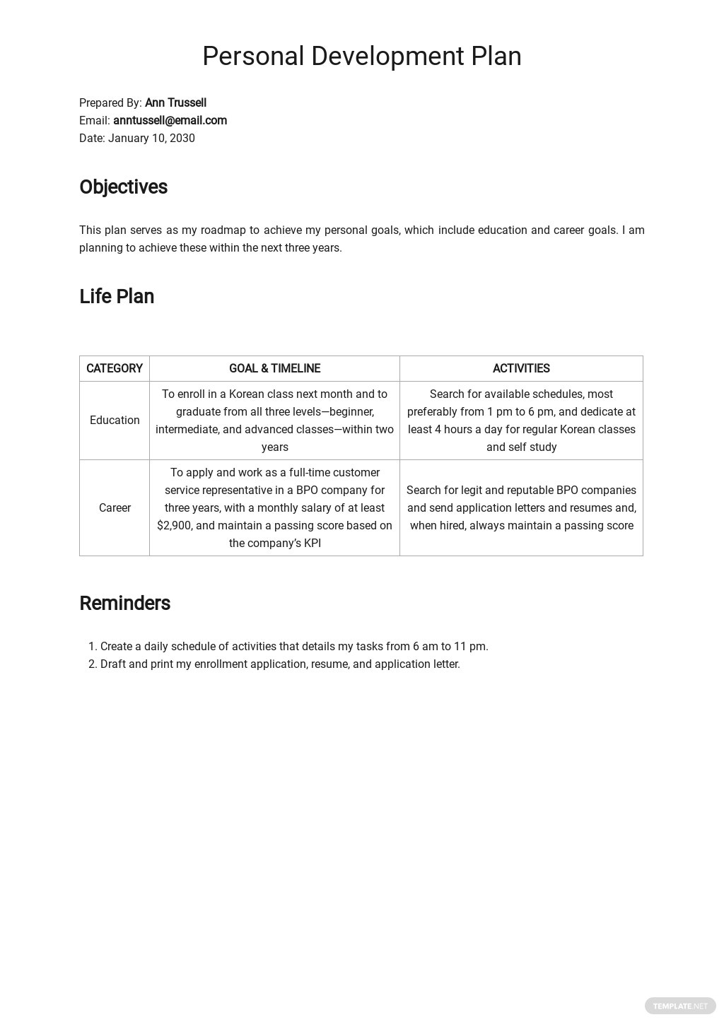 Sample Personal Development Plan Template.jpe