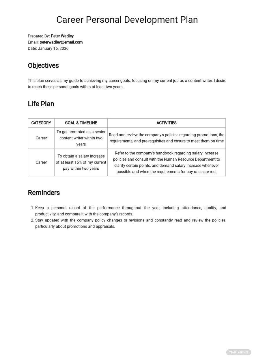 Career Personal Development Plan Template.jpe