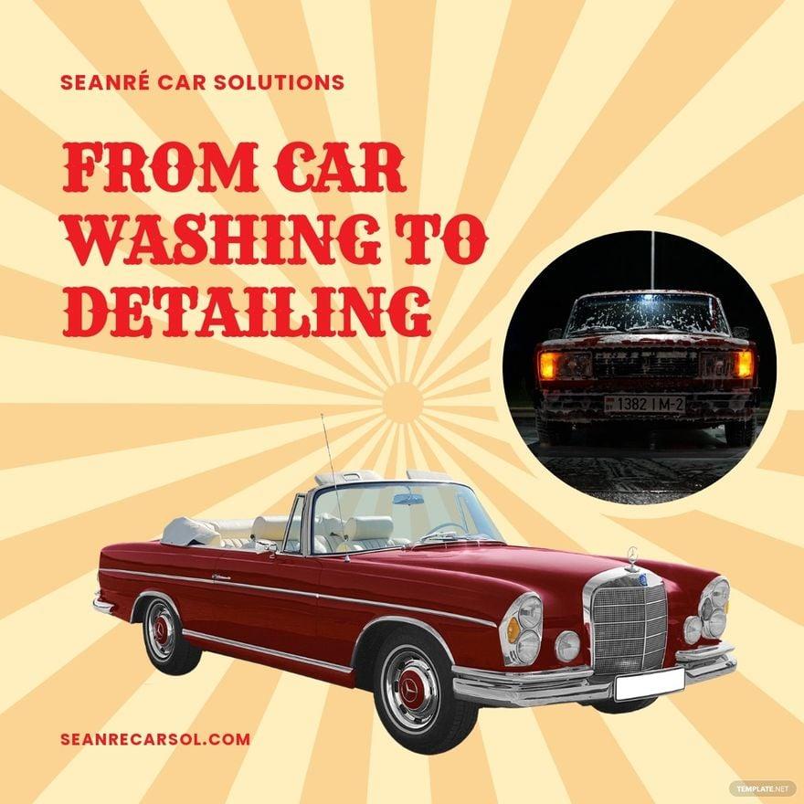 Vintage Car Wash Linkedin Post Template.jpe