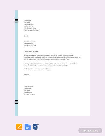 Free Job Cancellation Letter