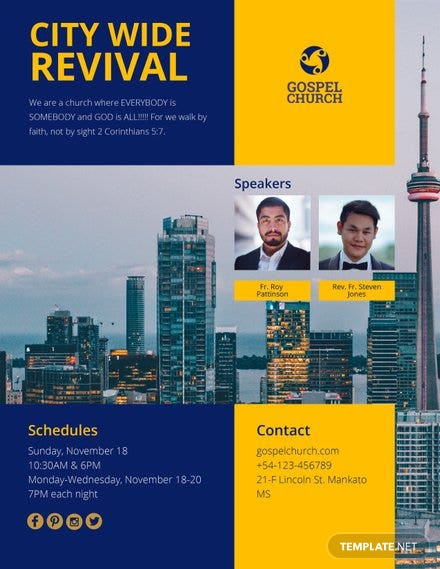 Free Revival In The City Church Flyer Template In Adobe Photoshop - Free church flyer templates microsoft word