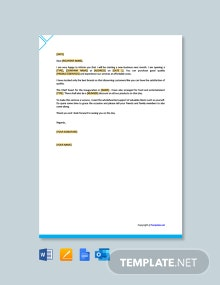 Free Marketing Letter for New Business