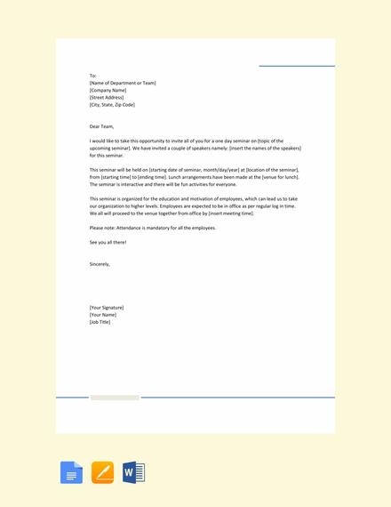 FREE Office Seminar Invitation Letter Template