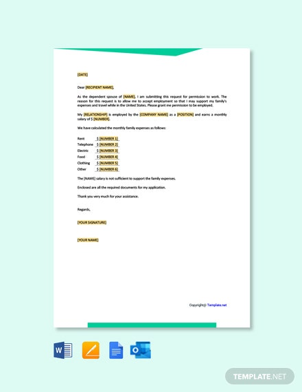 Free Request for Work Authorization Letter