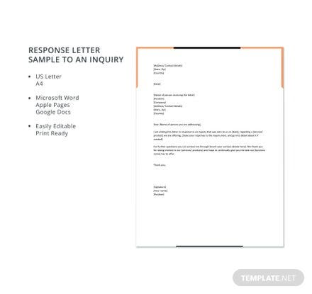 Response letter sample to an inquiry template in microsoft word response letter sample to an inquiry template in microsoft word apple pages google docs template spiritdancerdesigns Images