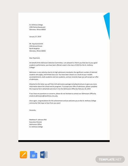 Free Sample Offer of Admission Letter Template