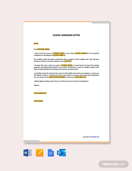 Free School Admission Letter Template