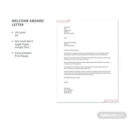 Welcome Aboard Letter Template