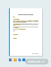 Free Welcome Letter from the Manager Template