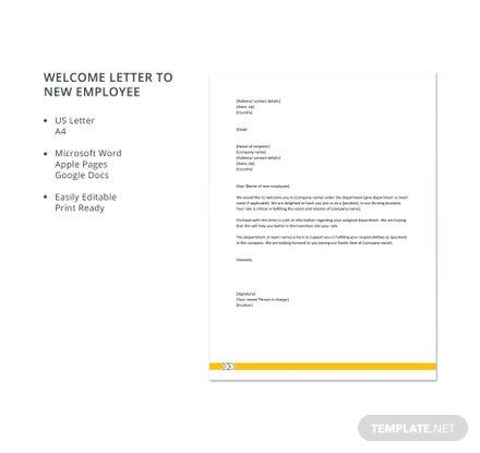 Welcome Letter to New Employee Template