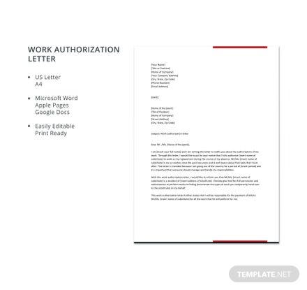 Work Authorization Letter Template