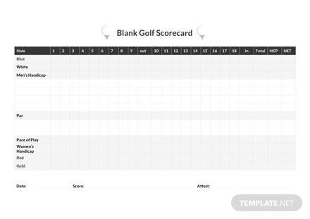 Free Blank Golf Scorecard Template
