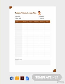 Free Toddler Weekly Lesson Plan Template
