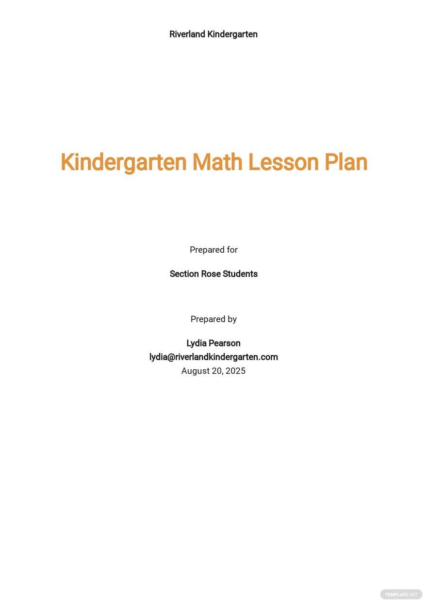Kindergarten Math Lesson Plan Template.jpe