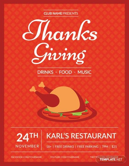 Club Thanksgiving Flyer Template Free Templates