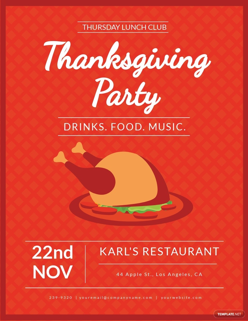 Club Thanksgiving Flyer Template