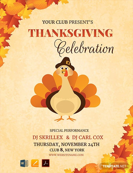 Free DJ Thanksgiving Flyer Template