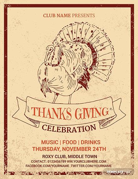 Free Supreme Thanksgiving Invitation Flyer