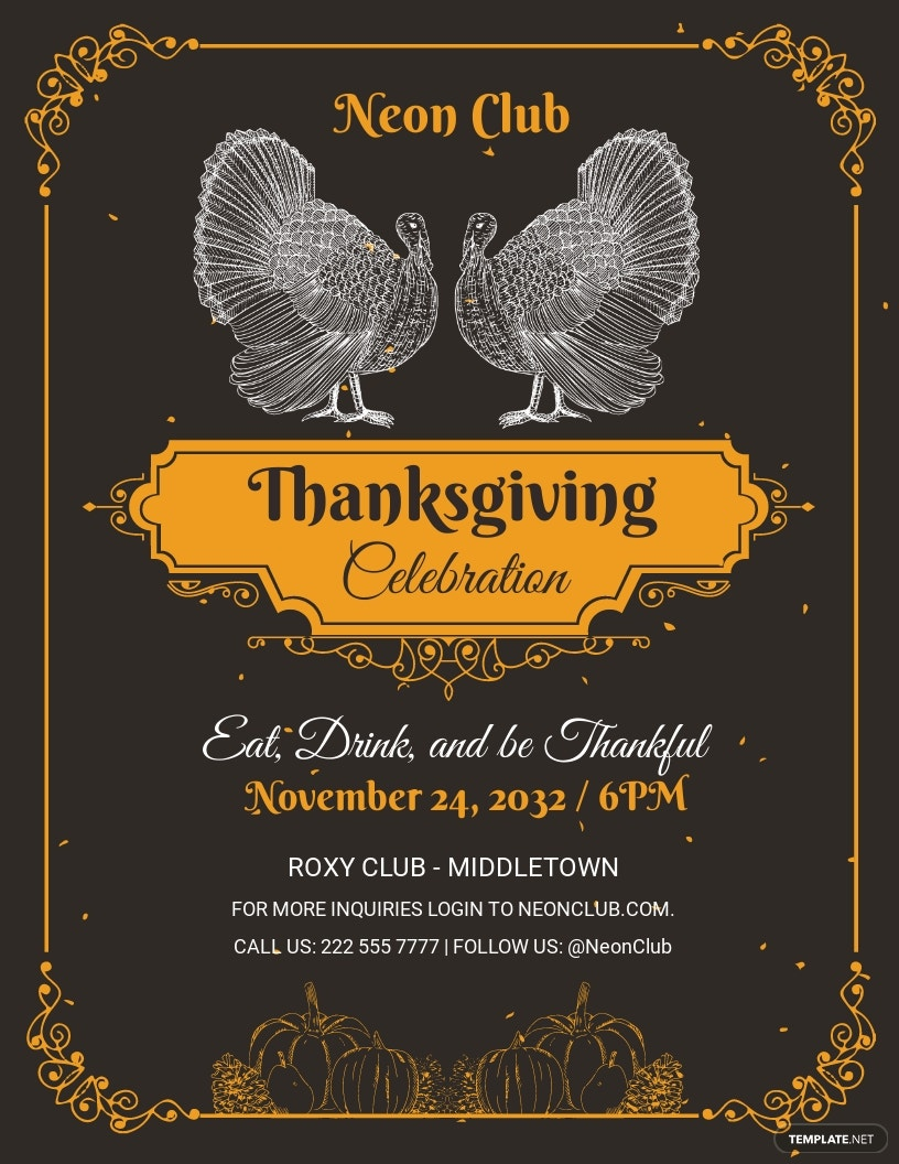 FREE Printable Thanksgiving Party Flyer Template