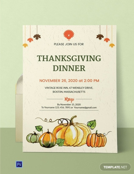 Free Thanksgiving Dinner Party Invitation Template Word