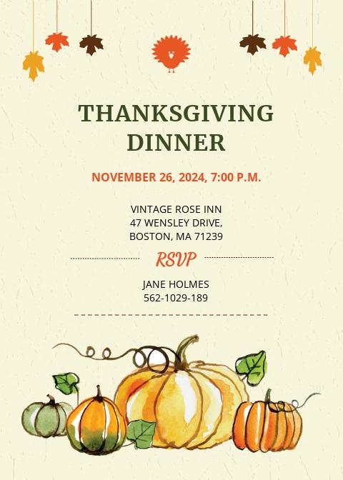 Free Thanksgiving Dinner Party Invitation.jpe