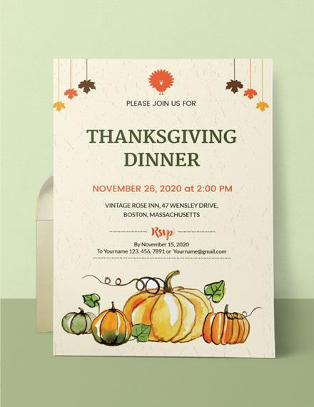 Free Thanksgiving Dinner Party Invitation