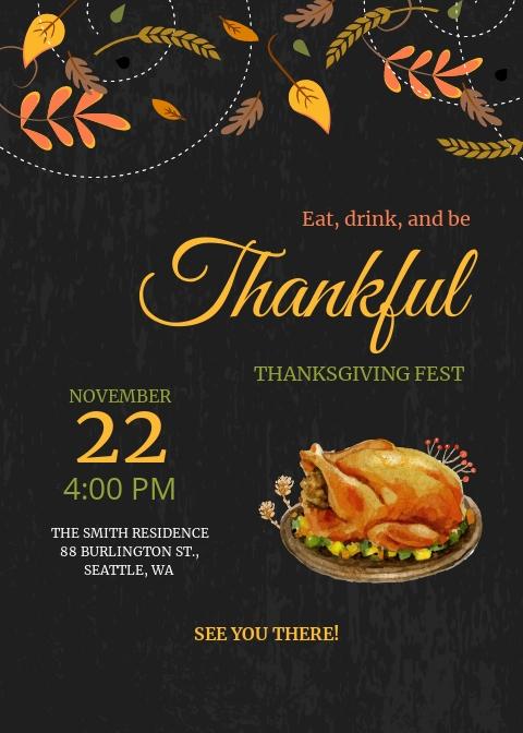Annual Thanksgiving Fest Invitation