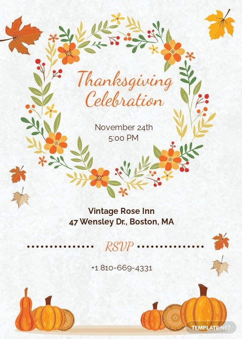 Thanksgiving Greeting Card Invitation Template