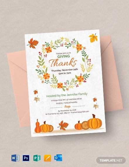 Free Thanksgiving Greeting Card Invitation