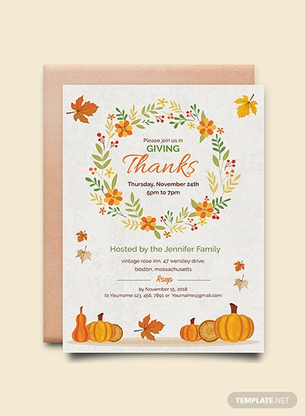 Free Thanksgiving Greeting Card Invitation