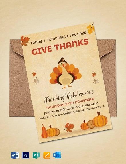 Free Vintage Thanksgiving Event Celebration Invitation