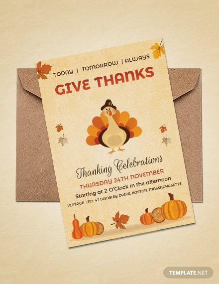 Free Vintage Thanksgiving Event Celebration Invitation