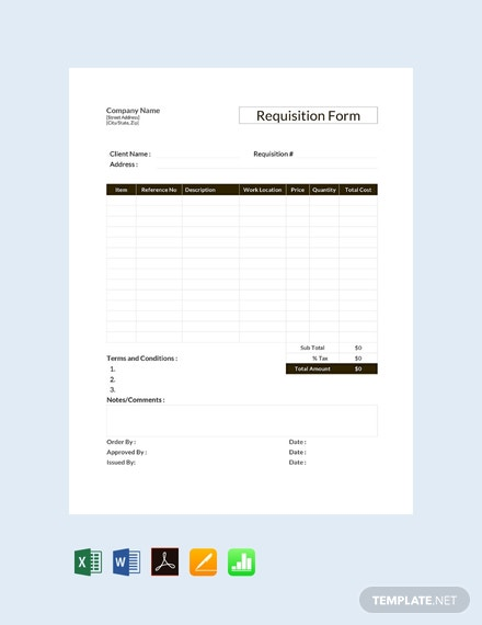 Free Requisition Form Template