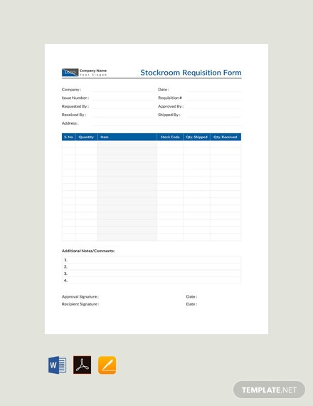 Free Stockroom Requisition Form Template
