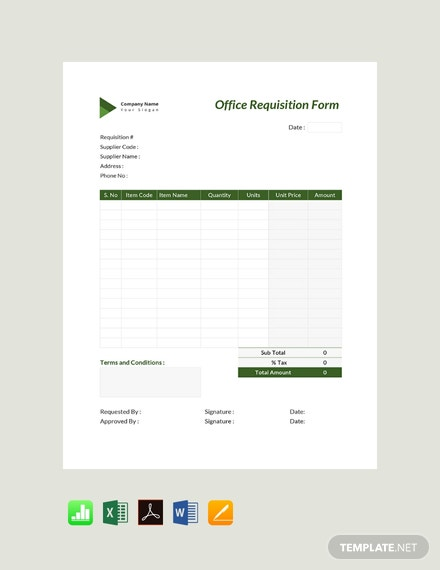 Free Office Requisition Form Template