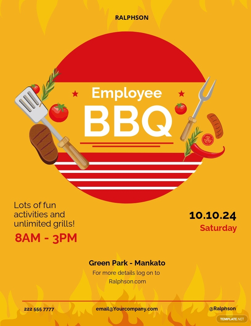 FREE Employee BBQ Party Flyer Template - Illustrator, Word, Apple Pages, PSD, Publisher