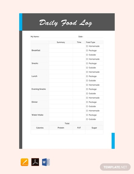FreeDailyFoodLogTemplate