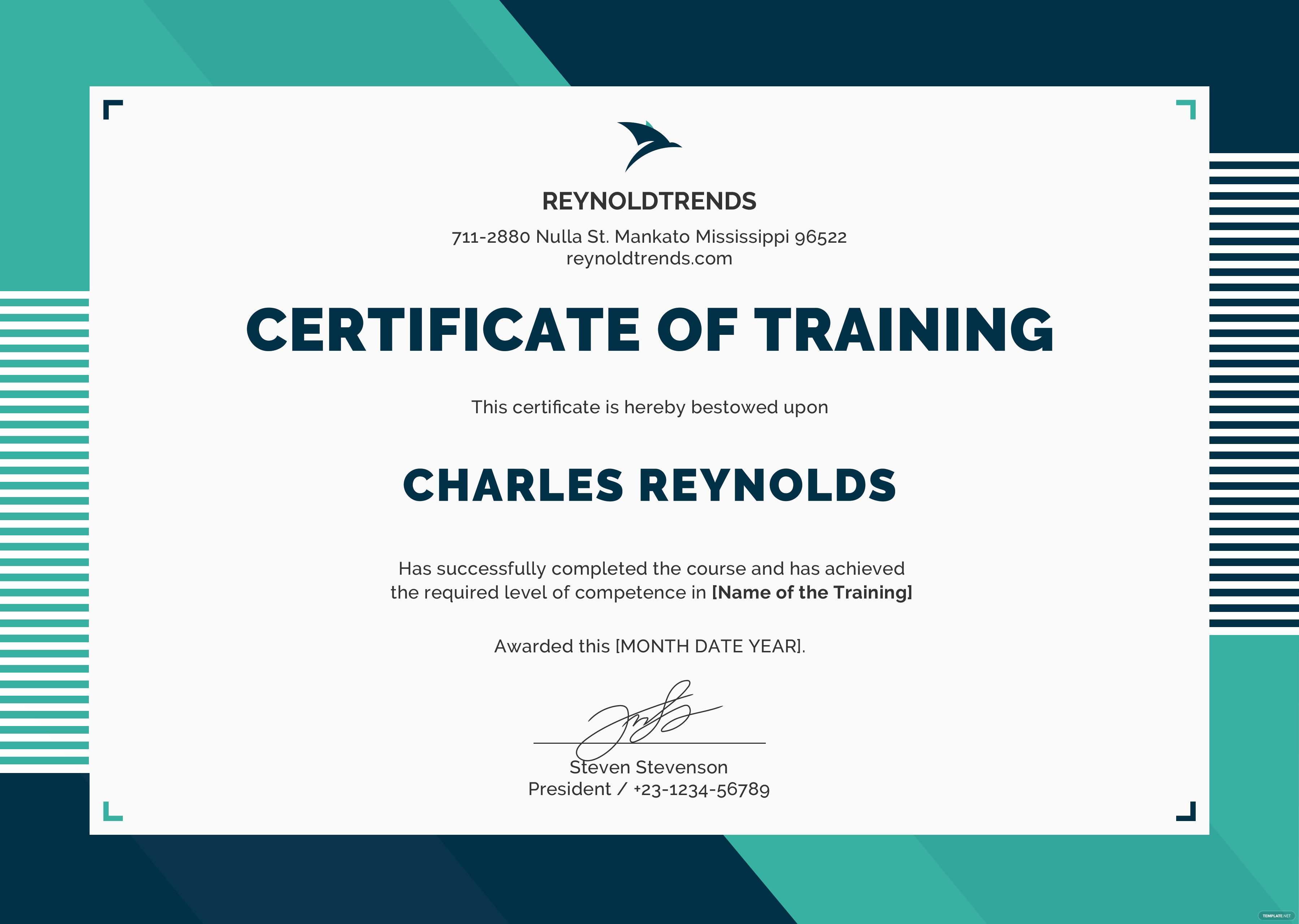 free company training certificate template in psd ms word