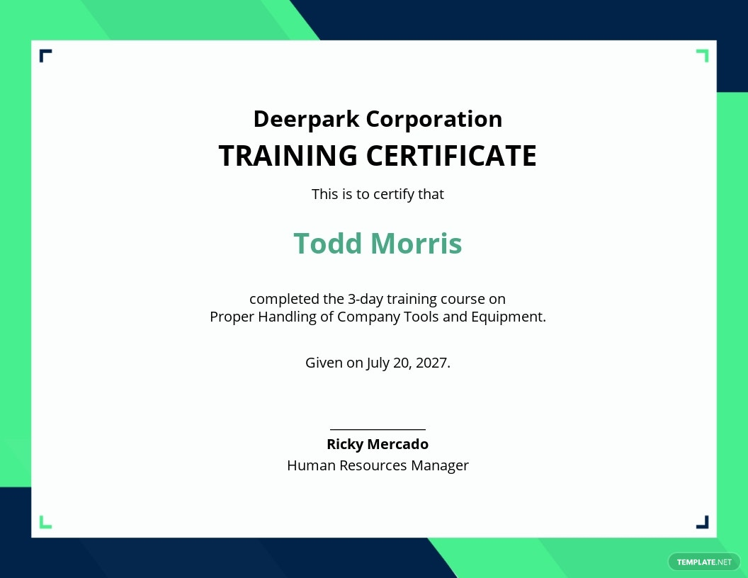 Company Training Certificate Template