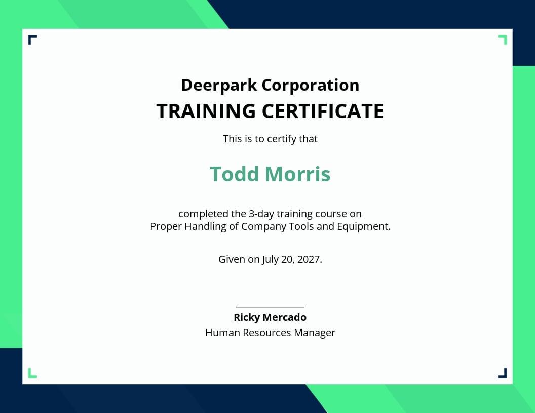 Free Company Training Certificate Template.jpe