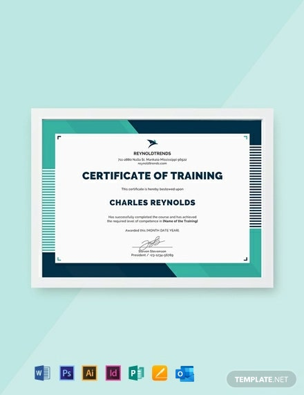Free Company Training Certificate Template
