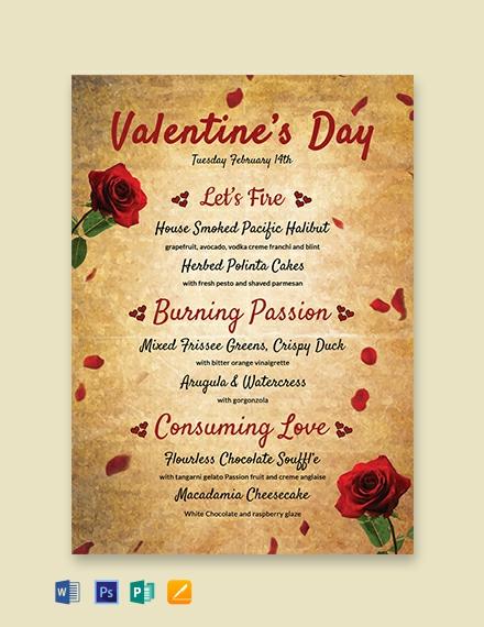 Free Valentine's Day Menu Template