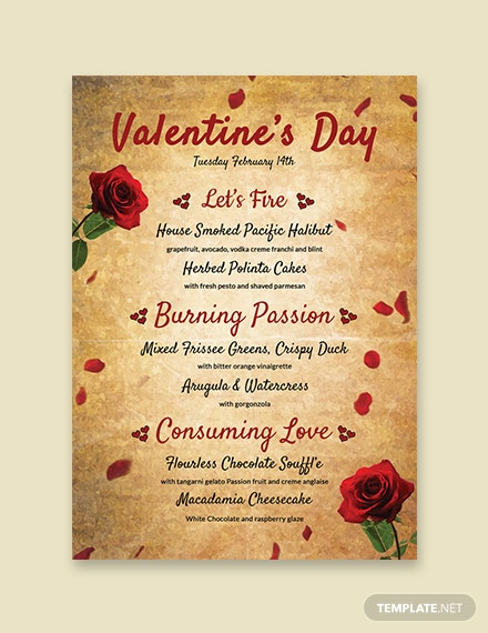 Free Valentine's Day Menu Template