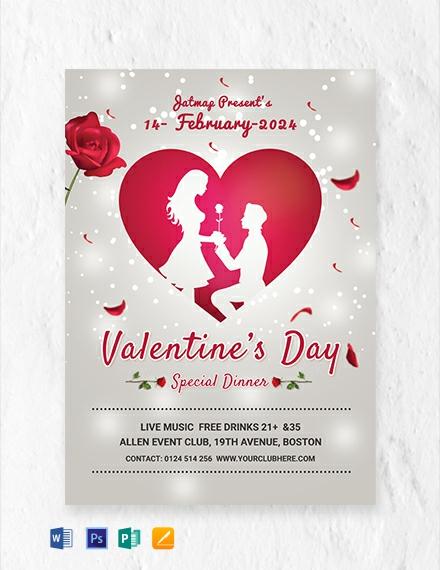 Free Romantic Valentine S Day Menu Template Word Psd